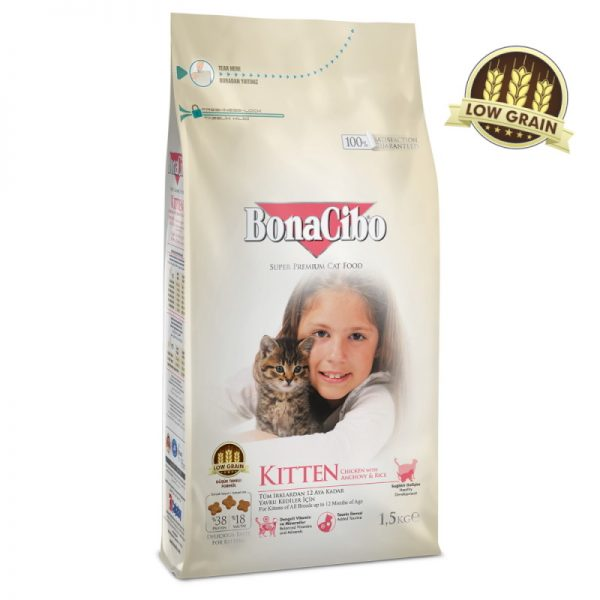 BonaCibo Kitten & Lactating Cats Chicken w/Rice & Anchovy 1.5Kg