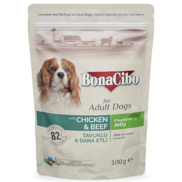 BonaCibo Dog Wet Food Chicken & Beef 6 Pouches of 100g