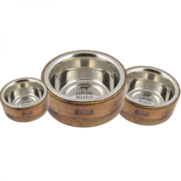 Designer Bowl Stainless Steel & Wood Combo from Tall Tails