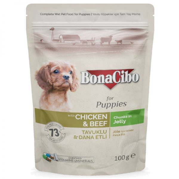 BonaCibo Puppy Wet Food Chicken & Beef 6 Pouches of 100g